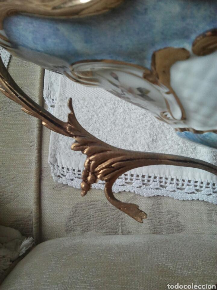 Antigüedades: Centro de mesa. Ceramica y metal dorado - Foto 4 - 117846990