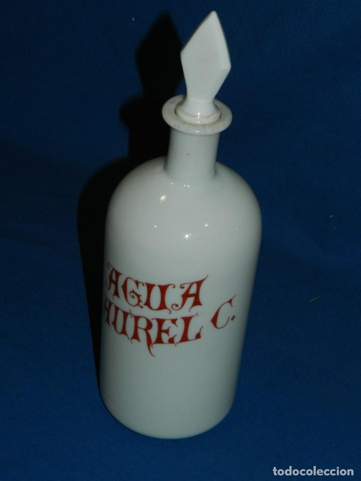 Antigüedades: (M) ALBARELO BOTE DE FARMACIA DE OPALINA FINALES S.XIX - AGUA LAUREL C , 30 CM - Foto 2 - 117854323