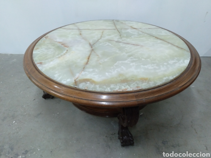 Antigüedades: IMPORTANTE MESA DE CENTRO CON TAPA DE ONIX - Foto 6 - 117869160