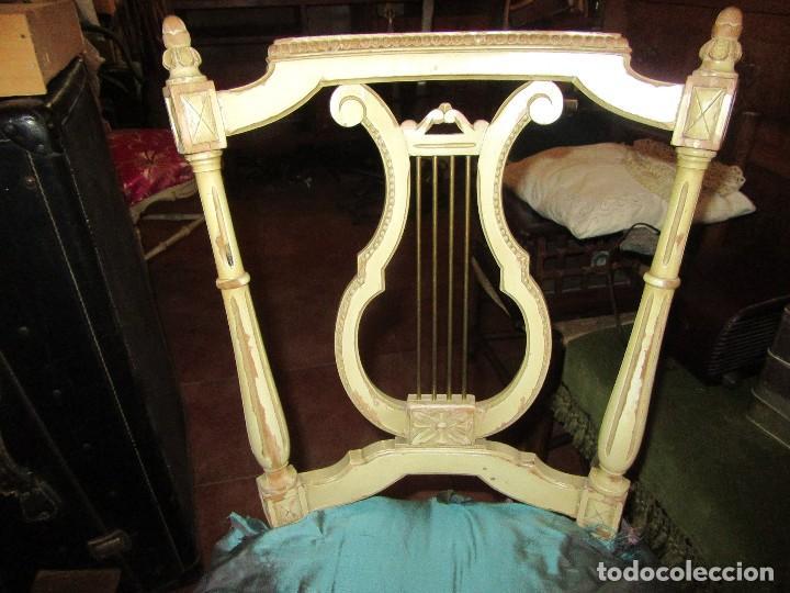Antigüedades: SILLA DE LIRA LACADA, ANTIGUA - Foto 2 - 117895735