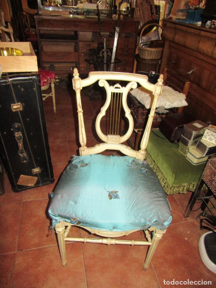 Antigüedades: SILLA DE LIRA LACADA, ANTIGUA - Foto 6 - 117895735