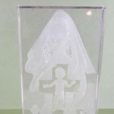 Antigüedades: BAJORELIEVE DE CRISTAL TALLADO A MANO. J. MARTIN. CIRCA 1980. . Lote 117923279