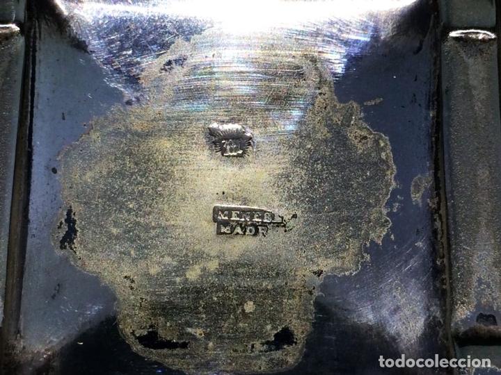 Antigüedades: TINTERO. ALPACA CHAPADA EN PLATA. CON PUNZONES DE MENESES. EPAÑA. FIN SIGLO XIX - Foto 4 - 117928743
