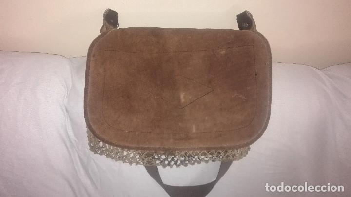 Antigüedades: zurrón de piel antiguo original. - Foto 3 - 118054475