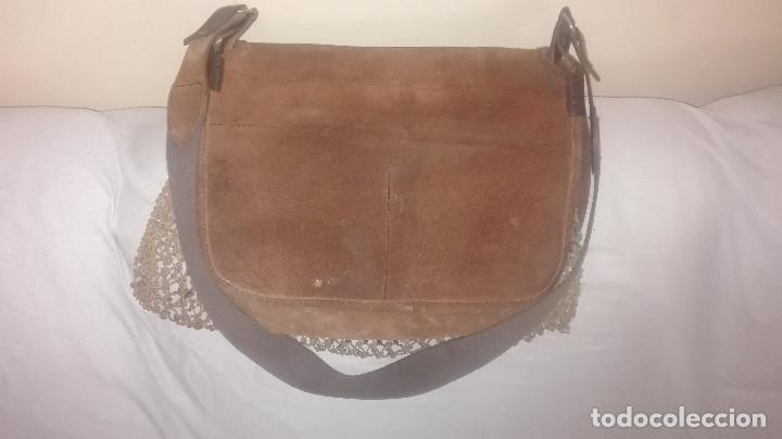 Antigüedades: zurrón de piel antiguo original. - Foto 4 - 118054475