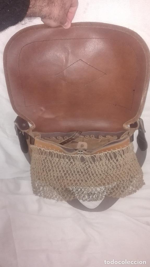 Antigüedades: zurrón de piel antiguo original. - Foto 5 - 118054475