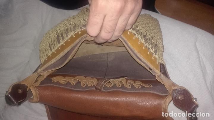 Antigüedades: zurrón de piel antiguo original. - Foto 6 - 118054475