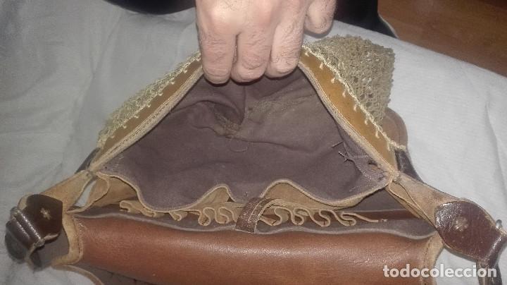 Antigüedades: zurrón de piel antiguo original. - Foto 7 - 118054475