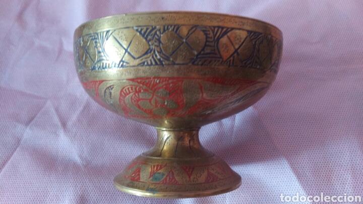 Antigüedades: PRECIOSA COPA TIPO CALIZ DE BRONCE, VER - Foto 2 - 118058266