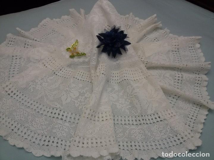 Antigüedades: Excelente mantel redondo -143 cm, hecho a ganchillo a mano . Blanco. - Foto 5 - 118058859