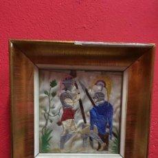 Antigüedades: ANTIGUO BORDADO EN SEDA - MEDIDA MARCO MADERA 18X18 CM. Lote 118066743