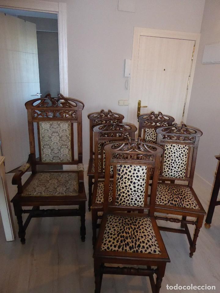 Conjunto sill n brazos y cinco sillas madera la comprar for Sillas de cocina con brazos