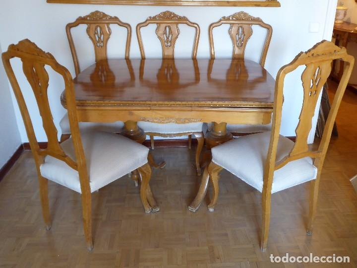 conjunto comedor mesa, sillería, espejo. madera - Comprar Mesas ...