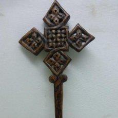 Antigüedades: ANTIGUA CRUZ COPTA GRAN TAMAÑO TODA TALLADA EN MADERA A MANO - PIEZA ORIGINAL DE LALIBELA (ETIOPÍA). Lote 118126795