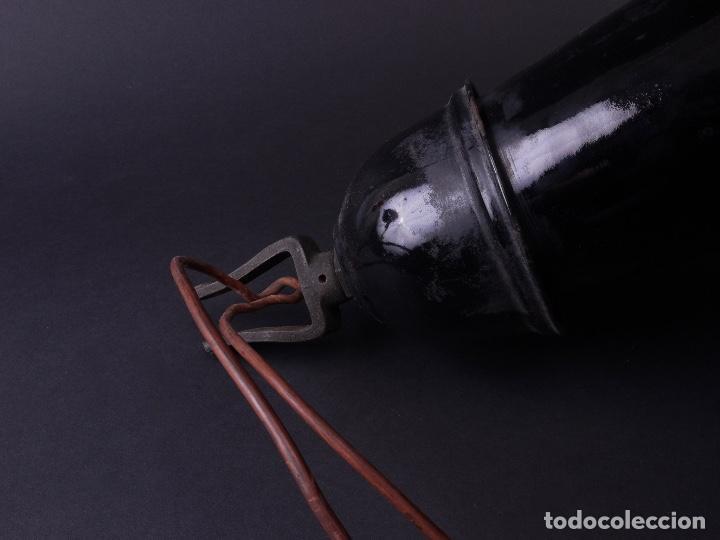 Antigüedades: LAMPARA INDUSTRIAL DE HIERRO ESMALTADA EN NEGRO MEDIANA - Foto 9 - 118158439
