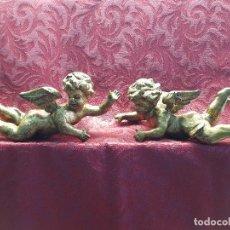 Antigüedades: PAREJA DE ÀNGELES EN MADERA. Lote 118161043