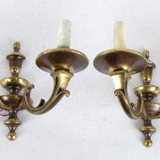 Antigüedades: PAREJA DE APLIQUES METAL DORADO PRINCIPIOS SIGLO XX. Lote 118182811