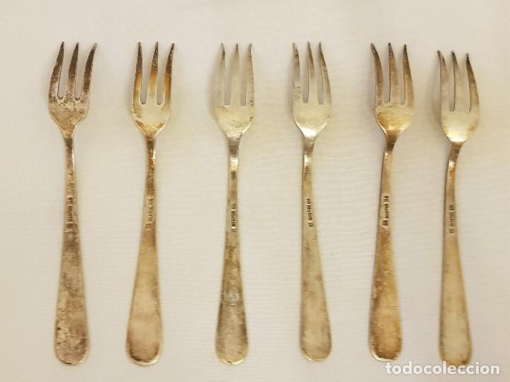 Antigüedades: 6 tenedores pequeños Hijos de Pío Fernández de plata 750-916 mm. Primera mitad siglo XX - Foto 3 - 118210815