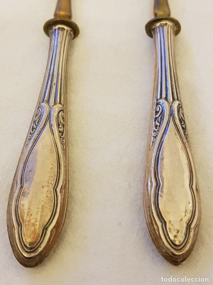 Antigüedades: 6 cuchillos y 6 tenedores de postre. Mangos de plata 800 mm. Finales siglo XIX - Foto 8 - 118211367