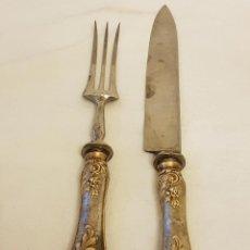 Antigüedades: CUCHILLO Y TENEDOR DE SERVICIO DE PLATA. FINALES SIGLO XIX. SIN CONTRASTES. Lote 118212607