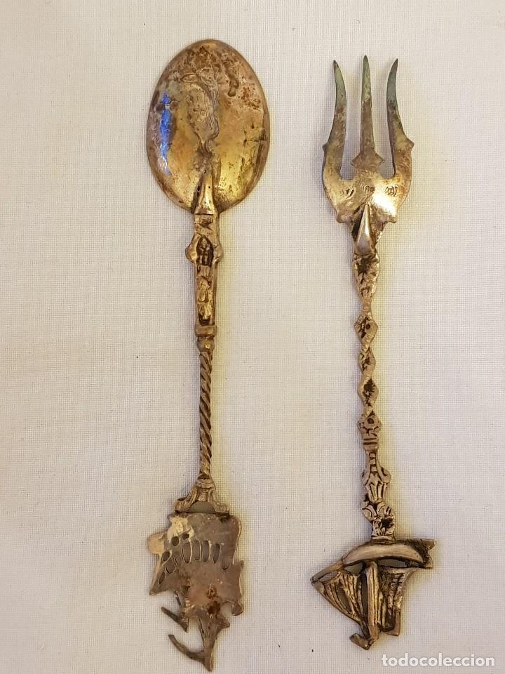 Antigüedades: Tenedor y cucharilla de plata 800 mm. Recuerdo o souvenir antiguo. - Foto 2 - 118212811