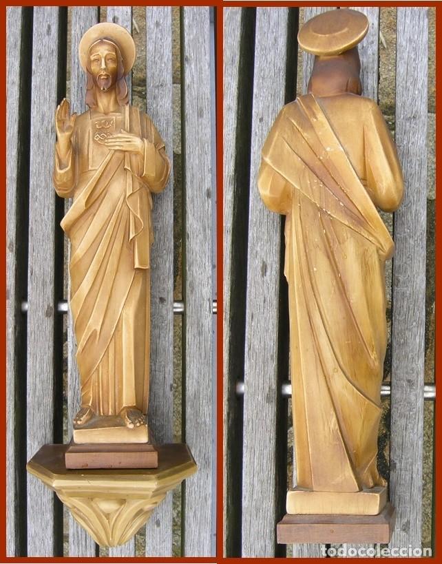 PRECIOSO JESÚS DE ESCAYOLA HUECA + PEANA...MEDIDAS 40 CMS + LA PEANA (Antigüedades - Religiosas - Varios)