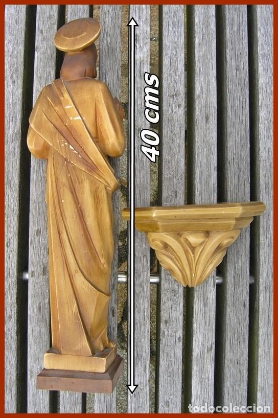 Antigüedades: Precioso Jesús de escayola hueca + peana...medidas 40 cms + la peana - Foto 2 - 118214759