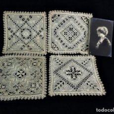 Antigüedades: 1101 PRECIOSO CONJUNTO DE CUATRO CUADRANTES TRABAJADOS EN HILO, REALCES, VAINICAS- FINES S XIX 16X16. Lote 118241399