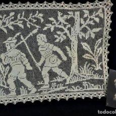 Antigüedades: 1103 CUADRANTE DOILIE BRISE BRISE EN TELA DE MALLA MANUAL 45X35 CM FINES S XIX. Lote 118241707