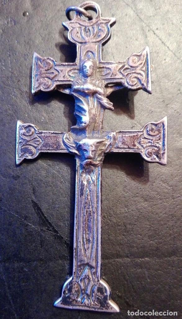 PRECIOSA GRAN CRUZ DE CARAVACA EN PLATA, LABRADA MUY ANTIGUA (Antigüedades - Religiosas - Cruces Antiguas)