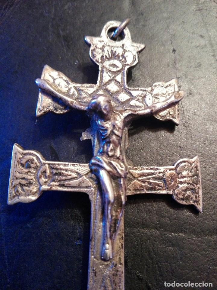 Antigüedades: Preciosa gran Cruz de Caravaca en plata, labrada muy antigua - Foto 2 - 118268275