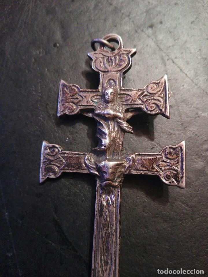 Antigüedades: Preciosa gran Cruz de Caravaca en plata, labrada muy antigua - Foto 5 - 118268275