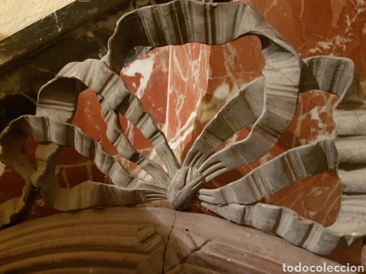Antigüedades: ANTIGUO MARCO OVALADO CON LAZO REALIZADO EN MADERA TALLADA - Foto 3 - 118278856