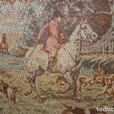 Antiques - CUADRO ESCENA INGLESA CAZA TAPIZ CABALLO CON JINETE SIGLO XX - 118281507