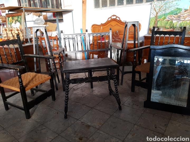 Antigüedades: LOTE DE MUEBLES DE RECIBIDOR, SILLON + BUTACAS + PEDESTALES - Foto 11 - 118289616