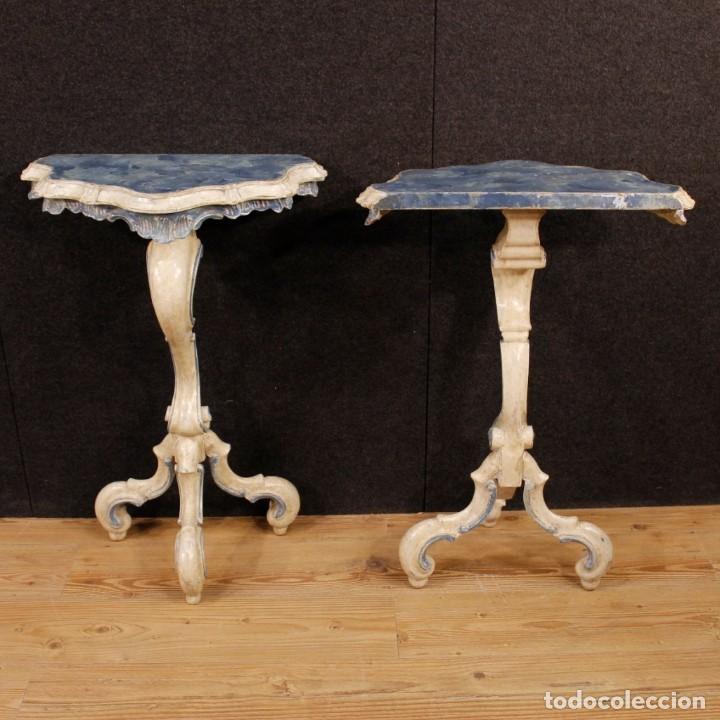 Antigüedades: Par de consolas venecianas lacadas y pintadas - Foto 9 - 118335663