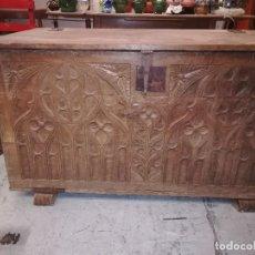 Antigüedades: ANTIGUA ARCA O KUTXA DE MADERA DE ROBLE. Lote 118351643