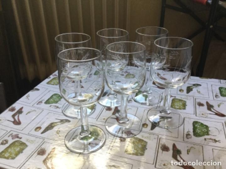 Antigüedades: Seis Bonitas Copas de Cristal Italiano con Dibujo Tallado a Mano - Foto 2 - 118374979