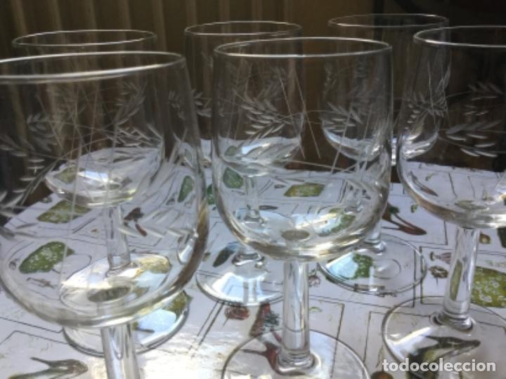 Antigüedades: Seis Bonitas Copas de Cristal Italiano con Dibujo Tallado a Mano - Foto 3 - 118374979
