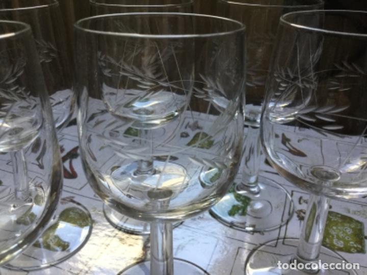 Antigüedades: Seis Bonitas Copas de Cristal Italiano con Dibujo Tallado a Mano - Foto 4 - 118374979