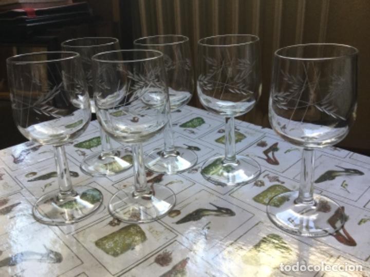 Antigüedades: Seis Bonitas Copas de Cristal Italiano con Dibujo Tallado a Mano - Foto 5 - 118374979