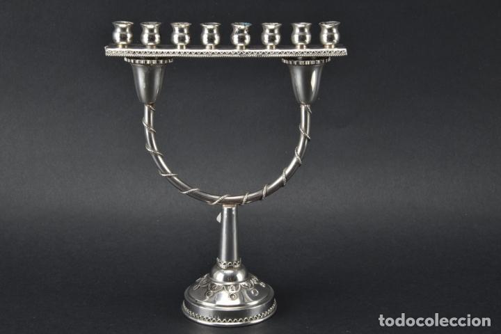 UNICO RARO MENORAH CANDELABRO PLATA LEY 925 FJANUCÁ CANDELABRO, ISRAEL 18,5X 14,5 X 6,5 CM 430,00 € (Antigüedades - Platería - Plata de Ley Antigua)