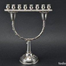 Antigüedades: UNICO RARO MENORAH CANDELABRO PLATA LEY 925 FJANUCÁ CANDELABRO, ISRAEL 18,5X 14,5 X 6,5 CM 323,00 €. Lote 118386131