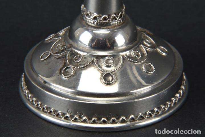 Antigüedades: UNICO raro MENORAH CANDELABRO PLATA LEY 925 fJanucá candelabro, Israel 18,5X 14,5 X 6,5 CM 430,00 € - Foto 3 - 118386131