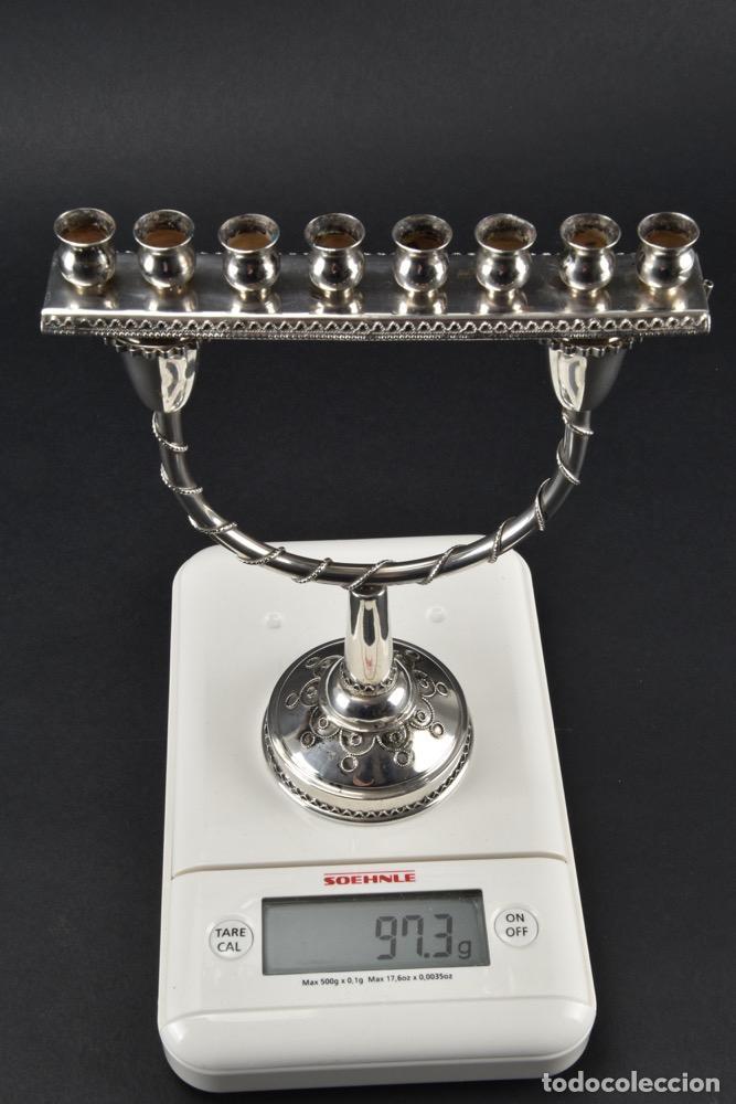Antigüedades: UNICO raro MENORAH CANDELABRO PLATA LEY 925 fJanucá candelabro, Israel 18,5X 14,5 X 6,5 CM 430,00 € - Foto 12 - 118386131