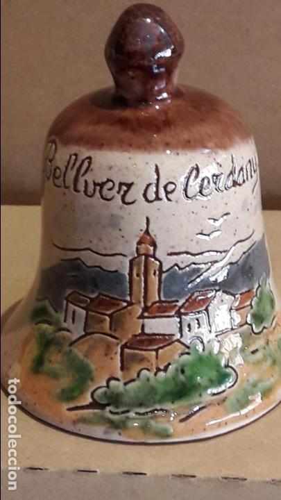 CAMPANA DE CERÁMICA / BELLVER DE CERDANYA / 11 CM ALTO X 8.5 Ø (Antigüedades - Hogar y Decoración - Campanas Antiguas)