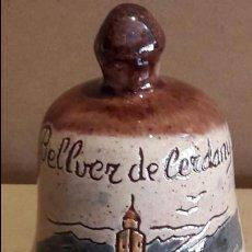 Antigüedades: CAMPANA DE CERÁMICA / BELLVER DE CERDANYA / 11 CM ALTO X 8.5 Ø. Lote 163779841