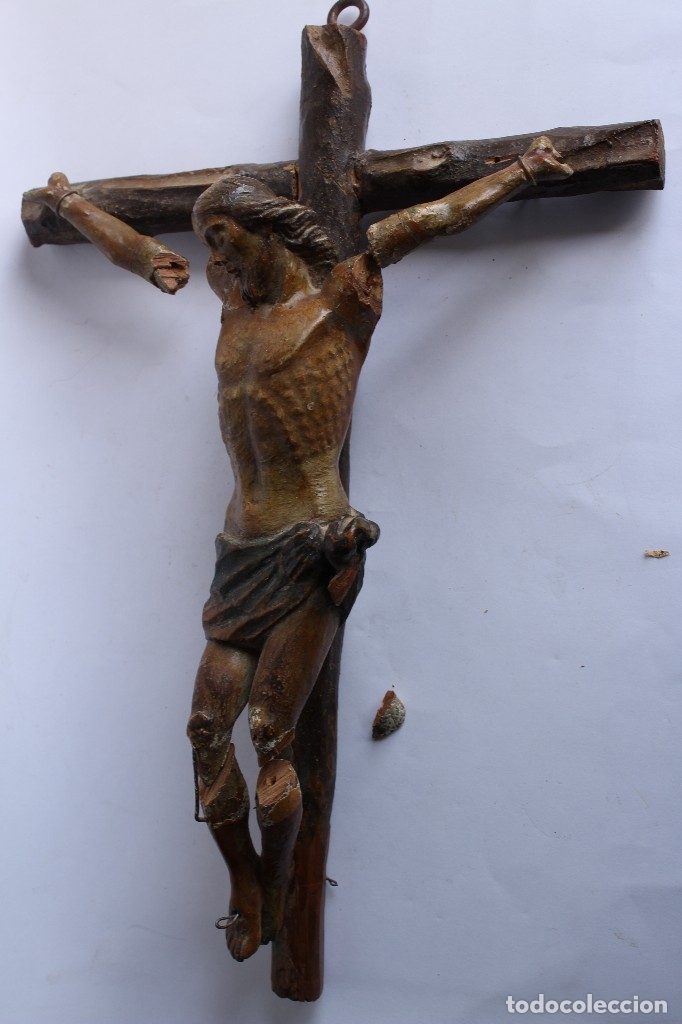 Antigüedades: ANTIGUO CRUCIFIJO MADERA TALLADA, CRISTO SIGLO XVIII .XIX RESTAURAR - Foto 2 - 52597177