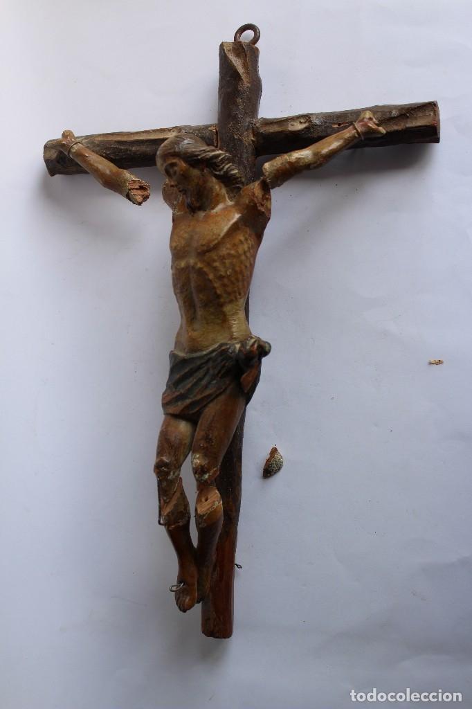 Antigüedades: ANTIGUO CRUCIFIJO MADERA TALLADA, CRISTO SIGLO XVIII .XIX RESTAURAR - Foto 4 - 52597177