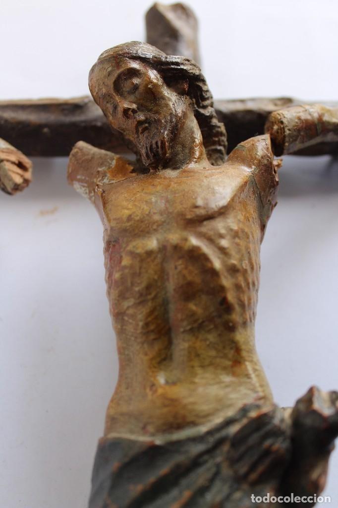 Antigüedades: ANTIGUO CRUCIFIJO MADERA TALLADA, CRISTO SIGLO XVIII .XIX RESTAURAR - Foto 5 - 52597177